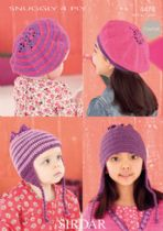 Sirdar Snuggly 4ply - 4474 Hat, Helmet & Berets Knitting Pattern